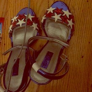 Topshop blue sandals with star details SZ 6.5 nwt